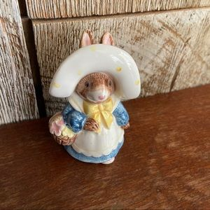 Lefton Figurine Bunny in Blue Dress with Basket